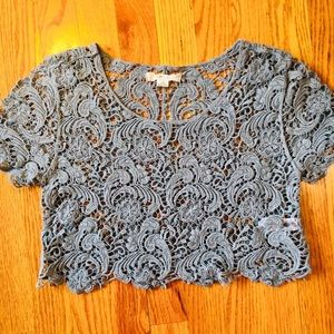 Ladies Crop Top Forever 21 Guipure Lace Size S/P